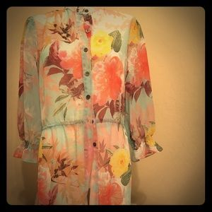 NWT! Vince Camuto Sheer Floral Duster